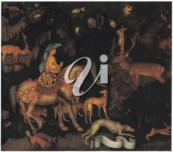 Royalty Free Clipart Image of The Vision of Saint Eustace by Pisanello