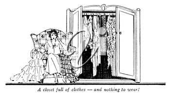 Royalty Free Clipart Image of a Vintage Funny Clip, of a Woman With a Closet Full of Clothes, and Nothing to wear!