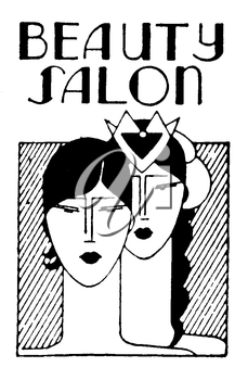 Royalty Free Clipart Image of a Vintage Beauty Salon Advertisement