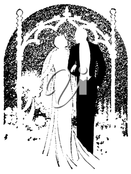 Royalty Free Silhouette Clipart Image of a Bride and Groom at the Alter