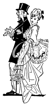 Royalty Free Clipart Image of a Higher Class Couple Dressed For a Night Out