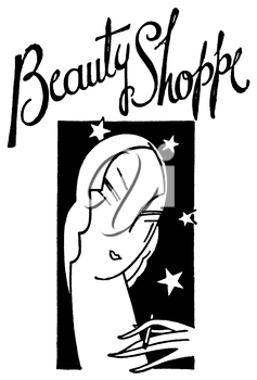 Royalty Free Clipart Image of a Vintage Beauty Shoppe Advertisement