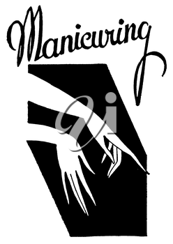 Royalty Free Clipart Image of a Vintage Manicuring Advertisement