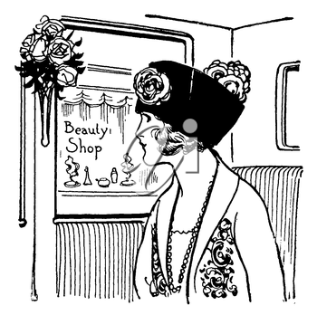 Royalty Free Clipart Image of a Woman Looking out a carriage window