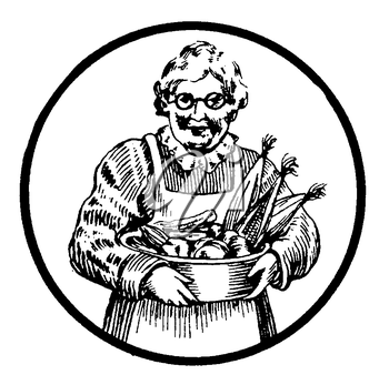 Royalty Free Clipart Image of an Older Woman Holding a Basket Of Produce