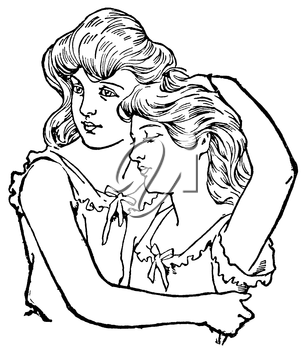 Royalty Free Clipart Image of Women Embracing Each Other