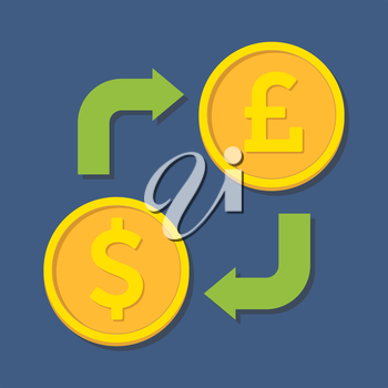 Currency exchange. Dollar and Pound Sterling. Vector illustration