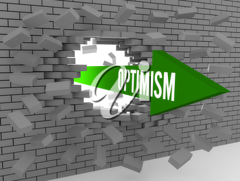Arrow with word Optimism breaking brick wall. Concept 3D illustration.
