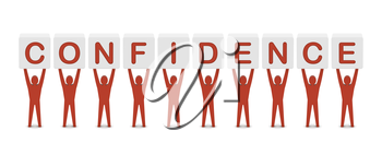 Men holding the word confidence. Concept 3D illustration.