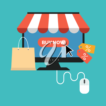 Online shopping concept. Flat design stylish. Isolated on color background