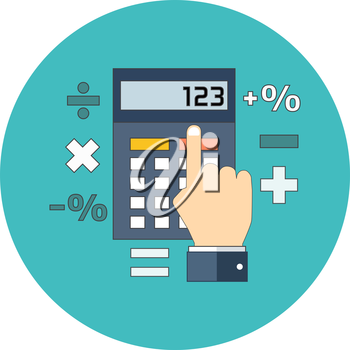 Calculation, mathematics, accountant concept. Flat design. Icon in turquoise circle on white background