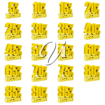 Set of percent discount. Gold on white background. Concept 3D illustration.