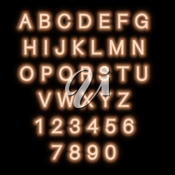English alphabet and numbers. Neon style. Beige letters.