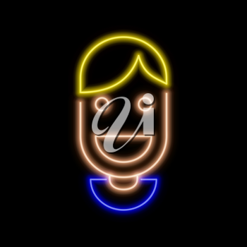 Man smiling avatar neon sign. Bright glowing symbol on a black background. Neon style icon.