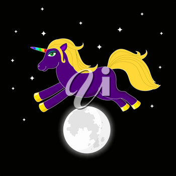 Night unicorn with multicolored horn jumping over moon. Cute fantasy animal. Dream symbol. Illustration for children
