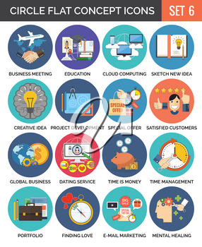 Circle Colorful Concept Icons. Flat Design. Set 6. Business, Finance, Education, Technology, Travel, Creativity, Love Symbols and Metaphors.