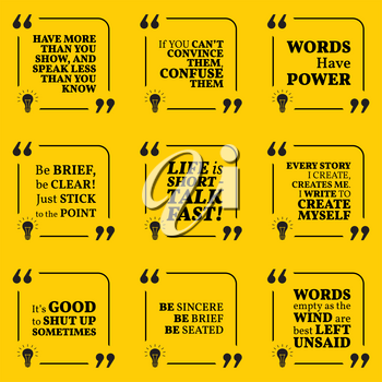 Set of motivational quotes about speech, words, talk, write and personal development. Simple note design typography poster. Vector illustration
