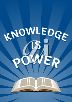 Knowledge is power poster. Educational, book reading concept. Over sunburst background