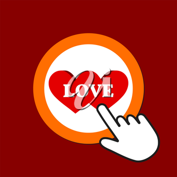 Two splitted hearts icon. Love concept. Hand Mouse Cursor Clicks the Button. Pointer Push Press