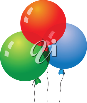 Illustration of three air balloons on white background