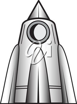 Illustration of cartoon space craft of white background