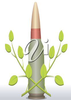 Illustration of a cartridge and two green branches