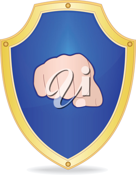 Illustration of shield with fist on white background