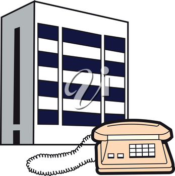 Illustration of symbolic buildings telecom and telephone