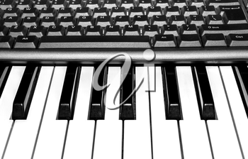 Parts of computer and music keyboards close-up
