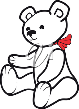 Illustration of a white toy bear with a red scarf on a white background