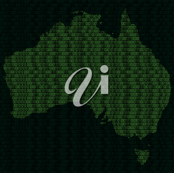 Illustration of silhouette of Australia from binary digits on background of binary digits