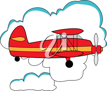 Illustration of a small agricultural plane in the clouds