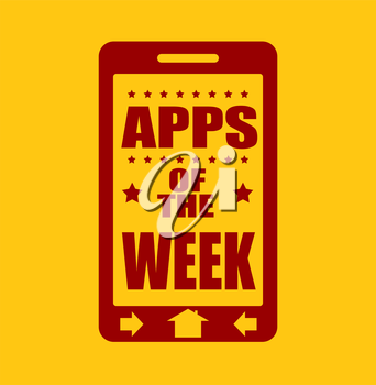 Apps of the week text on phone screen.  Abstract touchscreen with lettering.