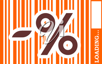 Brown percent symbol in orange bar code. Loading bar. Relative for retail business