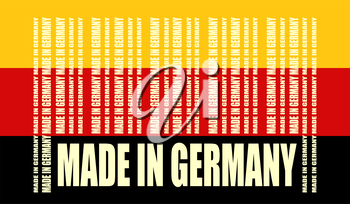 Made in Germany  in bar code. Lines consist of same words