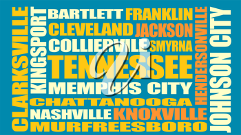 Image relative to USA travel. Tennessee cities and places names cloud.