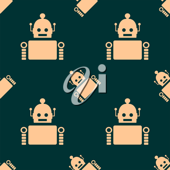Cute vintage robot seamless background. Robotics industry relative image