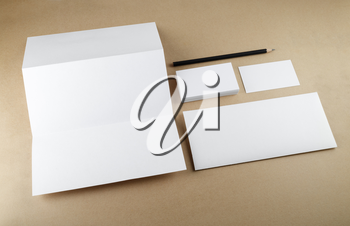 Blank stationery set on a table. Template for branding identity.
