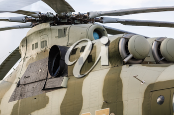 Close-up of the old Soviet helicopter. Old military helicopter. Disused old Soviet helicopter. Obsolete helicopter.
