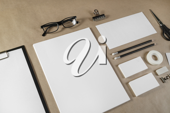 Blank business brand template. Stationery set on craft paper background.