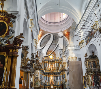 Grodno, Belarus - August 06, 2016: Interior of the church. St. Francis Xavier Cathedral, Grodno.