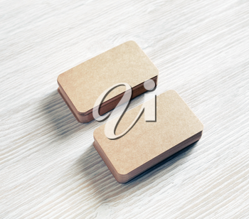 Blank kraft paper business cards. Copy space for text.
