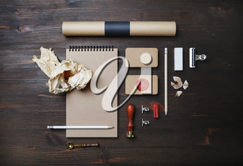 Blank vintage stationery set on wood table background. Corporate identity mockup. Responsive design template. Top view. Flat lay.