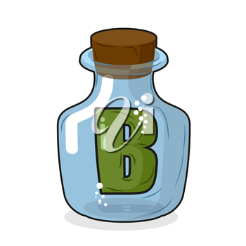 letter B in  laboratory bottle. Letter in a magic bottle with a wooden lid. Scientific research. Vector illustration