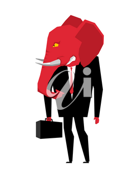 Elephant Republican politician. Metaphor of political party of USA. Wild animal with briefcase and tie. Beast in business suit. Illustration for elections in America