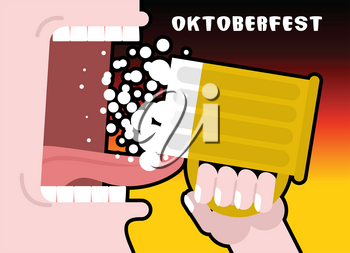 Drinks beer from mug. Man and alcohol. Poster for Oktoberfest. National Holiday in Germany