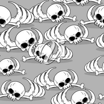 Remains of skeleton seamless pattern. Skull and bones ornament. Deadly background. Barebone texture