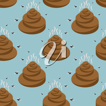 Shit isometric seamless pattern. Turd and fly texture. Stools ornament. feces and stench background. Poop