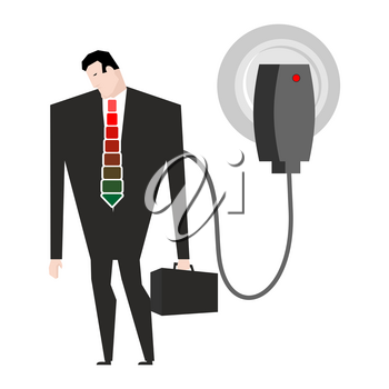 Charging for businessman. Man in suit and charger. business Meals