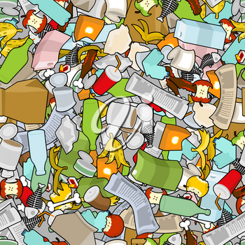 Garbage texture. Rubbish seamless pattern. trash ornament. litter background. peel from banana and stub. Tin and old newspaper. Bone and packaging. Crumpled paper and plastic bottle